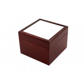 กล่องไม้สีเลือดหมูสำหรับใส่เครื่องประดับ ขนาด4x4นิ้ว
