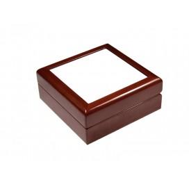 กล่องไม้สีน้ำตาลสำหรับใส่เครื่องประดับ ขนาด4x4นิ้ว