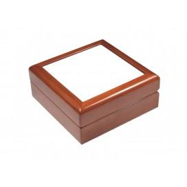กล่องไม้สีน้ำตาลสำหรับใส่เครื่องประดับ ขนาด6x6นิ้ว