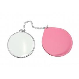 กระจกพกพาทรงกลม มีซองหนังสีชมพู (10ชิ้น/แพ็ค)