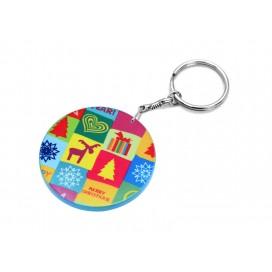 พวงกุญแจพลาสติกทรงกลม ขอบสี ขนาด60มิล (10ชิ้น/แพ็ค)
