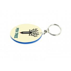 พวงกุญแจพลาสติกทรงกลม ขอบสี ขนาด48*68มิล (10ชิ้น/แพ็ค)