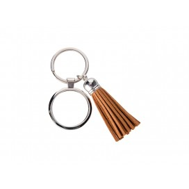 Round Keychain w/ Short Tassel(Brown) (10/pack)