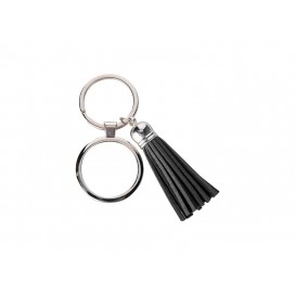 Round Keychain w/ Short Tassel(Black) (10/pack)