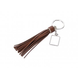 Square Keychain w/ Long Tassel(Brown) (10/pack)