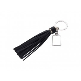 Square Keychain w/ Long Tassel(Black) (10/pack)