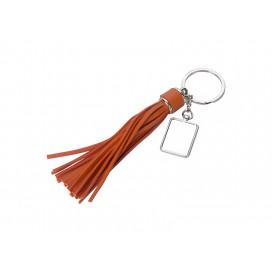 Square Keychain w/ Long Tassel(Orange) (10/pack)