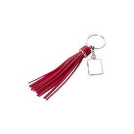 Square Keychain w/ Long Tassel(Red) (10/pack)