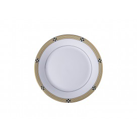 "8"" Rim Plate w/ Golden Pattern(26/pack)"