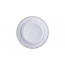 """8"""" Rim Plate w/ Silver Rim(26/pack)"""