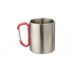 แก้วสแตนเลสพร้อมด้วยด้ามจับสีแดงขนาด 300 มล.  (10/pack)